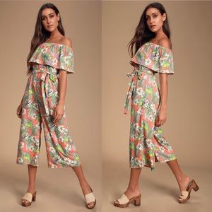 NWT Lulus Raquell Coral Tropical Print Jumpsuit